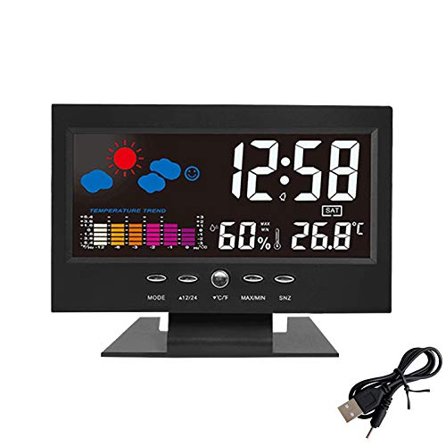 Aweskmod Sveglia con, Sveglia Digitale da Comodino Moda Sveglia, Sveglia Digitale LED con Stazione Tempo/LCD a Display/Temperatura e Data/Funzione Snooze/Ricarica USB / 12&24h (Tutto Nero)