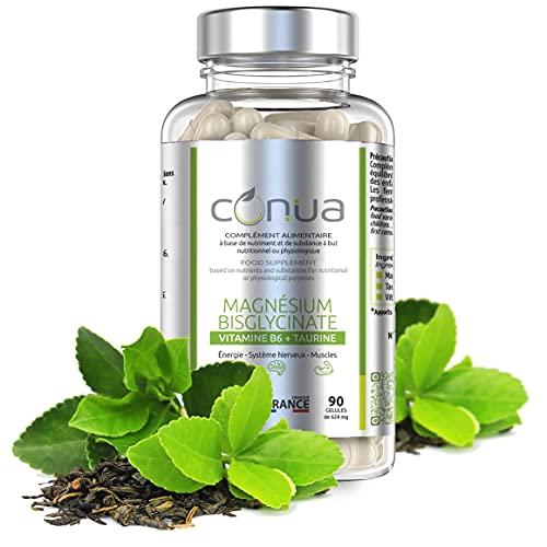 Magnesio Bisgliccinato vitamina B6 & Taurina | Alta absorción | Antifatiga, Anti-Stress Energía Sistema Nervioso Muscle | Sin aditivo cápsulas vegetales | Fabricado en Francia | Conua desde 2003