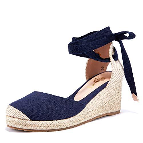 Ruanyu Womens Espadrille Platform Wedge Sandals Closed Toe Lace Up Slingback Sandals (8, 1-Navy Blue)
