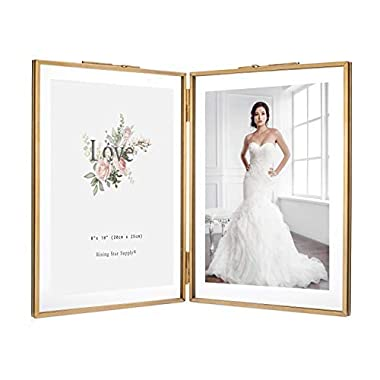 Rising Star Double 8x10 Folding Picture Frames, Gold Metal Pressed Glass Photo Frame Brass