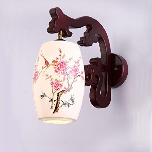Antieke Chinese wandlamp keramiek solide gesneden wandlamp Chinese bedlampje retro woonkamer gang wandlamp, waterkraan met taille trommel orchidee + warm licht ledlamp