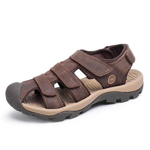 Holystep Sandalias Para Hombre Cuero Genuino Deportes Ajustables Zapatos Para Caminar Al Aire Libre Sandalias Unisex Correa Para El Tobillo
