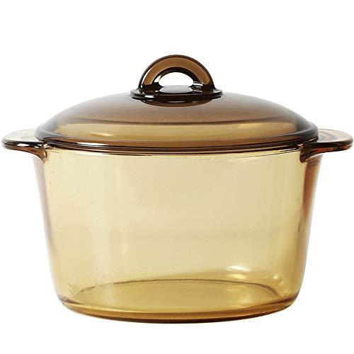 Glass Saucepan with Cover, 3L Heat-Resistant Glass-ceramic Handmade Cookware Set stovetop Pot - Safe for Pasta Noodle, Soup, Milk, Tea, Baby Food, Healthy - Serving Pot