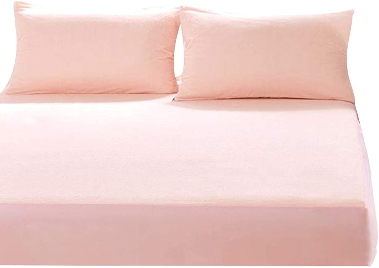 ZHAOHUI Mattress Predector Cotton Waterproof Breathable Hypoallergenic Set of 3 Anti-mite Soft Skin-Friendly, 3 colors, 2 Sizes (color   Pink-120 x 200cm)