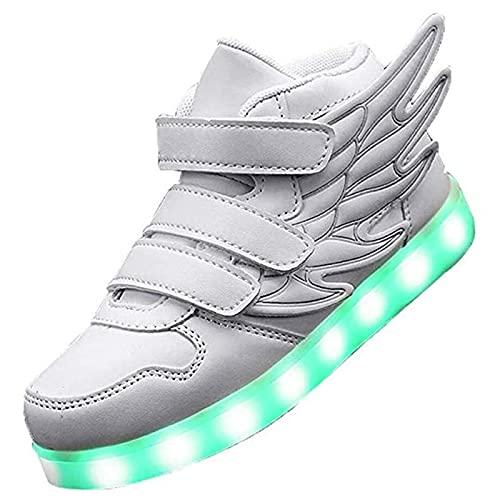Zapatos LED Niños Niñas Negras Blanco 7 Color USB Carga LED Zapatillas Luces Luminosos Zapatillas Deportivos para Hombres Mujeres (Color : White, Size : 26 EU)