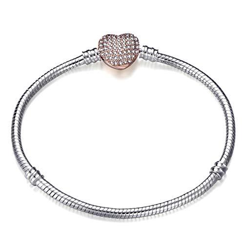 TOUSHI 17-21Cm Silver Plated Snake Chain Link Bracelet Fit European Charm Bracelet For Women Diy Jewelry Making