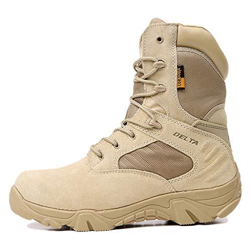 Wygwlg Bottes Tactiques de Combat Militaire pour Hommes Bottes de Montagne pour Adultes Botte en Cuir Haute Bottes imperméables Jungle Recon Desert,Brown-44