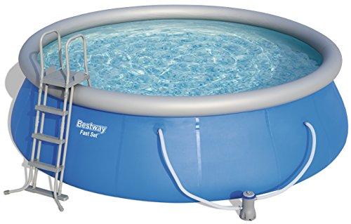 Bestway Fast Pool Set, rund, mit Kartuschenfilterpumpe, Leiter und Boden-& Abdeckplane, blau, 457 x 122 cm