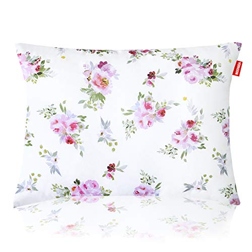 Toddler Pillow for Girls, Baby Girls Floral Nursing Pillow, Washable Ultra Soft Kids Pillows Perfect for Travel, Toddler Cot, Baby Crib, 14 x 19 inch No Pillowcase Needed (Floral)