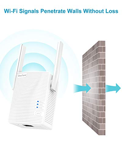 BrosTrend 1200Mbps WiFi Range Extender Signal Booster Repeater, Add Coverage up to 1200 sq.ft. in Your House, Extend 2.4GHz