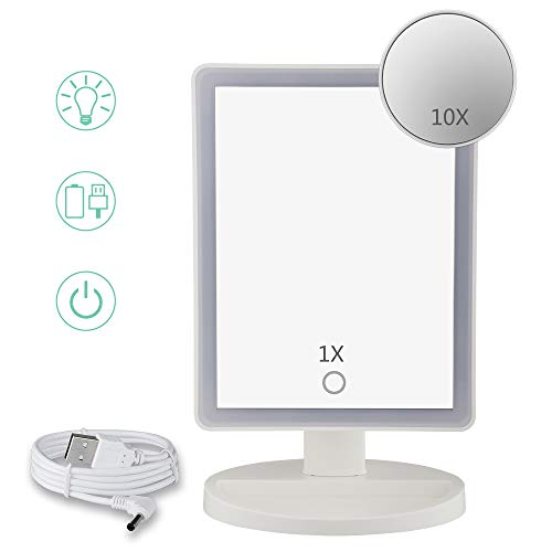 Brandless Makeup Mirror Mangnifying Makeup Mirror Absolutely Natural Daylight Lighted Vanity Mirror with Touch Screen Dimming,Detachable 10X Magnification Spot Mirror (Mirror2) …