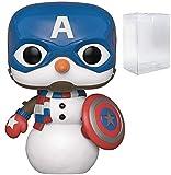 Marvel: Holiday – Capitán América muñeco de Nieve Pop! Figura de Vinilo (Incluye Funda Protectora Compatible con Pop Box)
