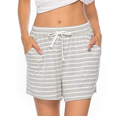 Vlazom Damen Schlafanzughose Baumwolle Pyjamahose Nachtwäsche Kurz Freizeit Hose mit Taschen und Kordelzug(L,Stil B-Grau)