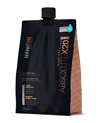 MINETAN BODY.SKIN Spray Tan Solution - Absolute X20 Pro Spray Mist - Ultra Dark Salon Professional 1 Hour Express Tan, 33.8 fl oz