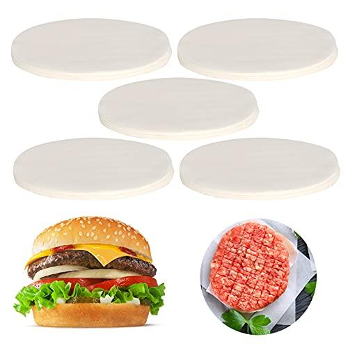 GWHOLE 500 Hojas Papel Antiadherente Horno Papel Redondo para Hamburguesas, Cheeseburgers, Albóndigas, Sartén, Barbacoa