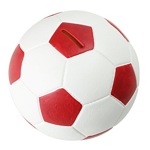 HMF 4790-03 Spardose Fußball Lederoptik 15 cm Durchmesser, rot weiß