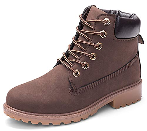 DADAWEN Women's Lace Up Low Heel Work Combat Boots Waterproof Ankle Bootie Brown US Size 7