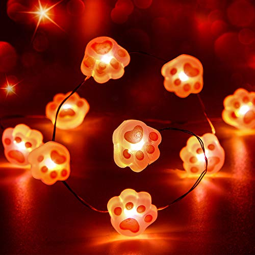 Pink Cat Claw String Light, 10ft 40LEDs Animal Paw Decoration Battery Powered with 12 Modes, Remote and Timer Decor for Girls Bedroom Festive Birthday