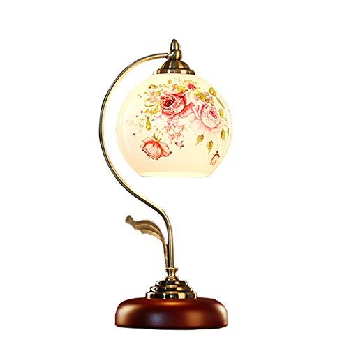 YH-Lighting Retro- Weinlese-traditionelle Antike Brassed Effekt-Noten-Tischlampe mit Floribunda Rose und Blumen und Vögel entwerfen Schatten (Farbe : Roses)