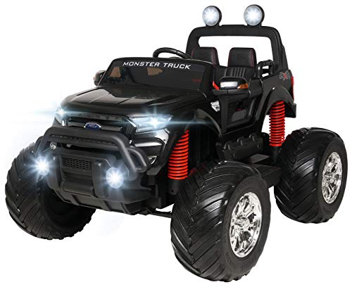 Actionbikes Motors Kinder Elektroauto Ford Ranger Monster - 4 x 45 Watt Motor - Touchscreen - Allrad - 2-Sitzer - Rc Fernbedienung - Elektro Auto für Kinder ab 3 Jahre (Schwarz)