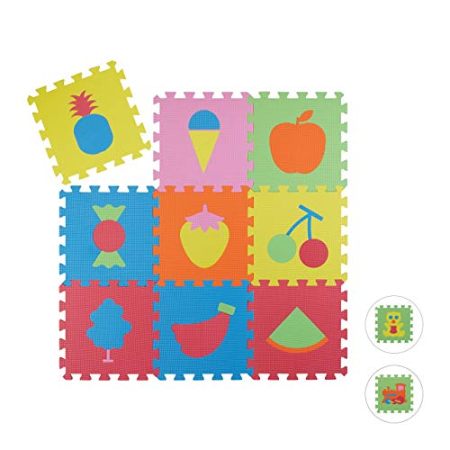Relaxdays Alfombra Bebé Puzzle Fruta
