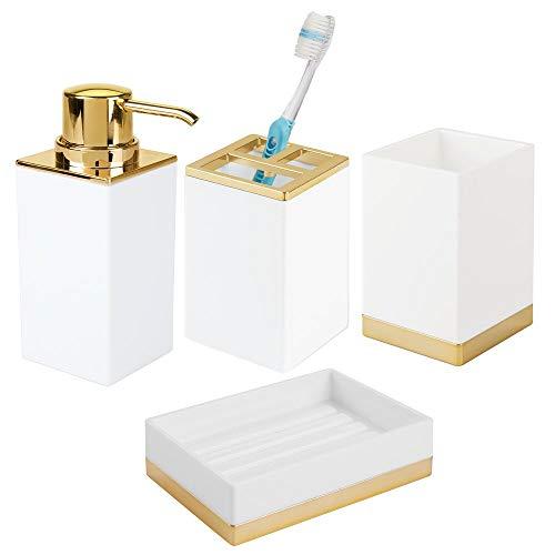 mDesign 4er-Set Badzubehör - Zahnbürstenhalterung, Seifenspender, Seifenschale und Becher im eleganten Design - Badset aus robustem Kunststoff - weiß/messingfarben