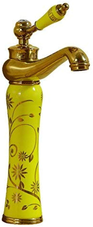 ZHAS Waschbecken Leitungswasser Mischbatterie europischen heien und kalten Kupfer antiken Hhnen, Gold - hohe Modelle