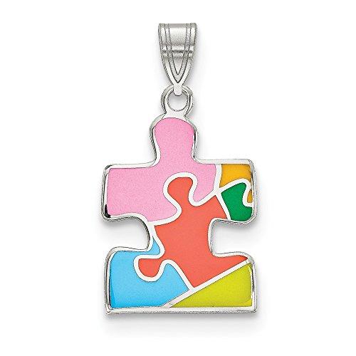 Saris and Things 925 sterlingsilber-rhod beschichtete enameled autism puzzle stück anhänger in form von