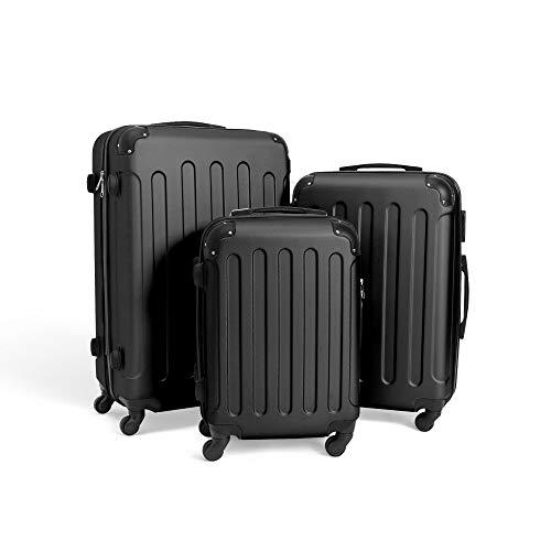 Todeco - Set Di Valigie, Valigie Da Viaggio - Materiale: Plastica ABS - Tipologia ruote: 4-ruote con 360° di rotazione - Angoli protettivi, 51 61 71 cm, Nero, ABS