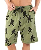 Lazy One Pajama Shorts for Men, Men's Separate Bottoms, Cotton Loungewear, Mythical, Creature (Bigfoot, X-Large)