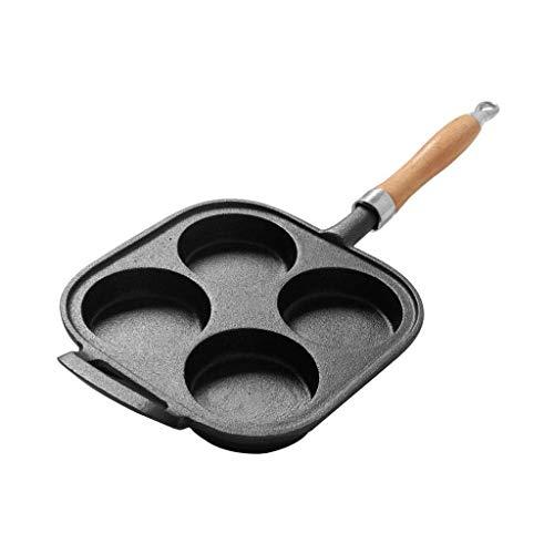 LNDDP Antihaft-Bratpfanne, Pfanne, Pfanne, Gusseisen, 20 x 20 cm, mit 4 Mulden und Griff, Antihaft-Burger-Pfannen für Induktionsherd