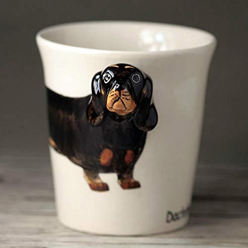 Neue Schwarze Dackel Keramik Tasse 3D Cartoon Handgezeichnete Tierbecher Kreative Hund Kaffeetasse