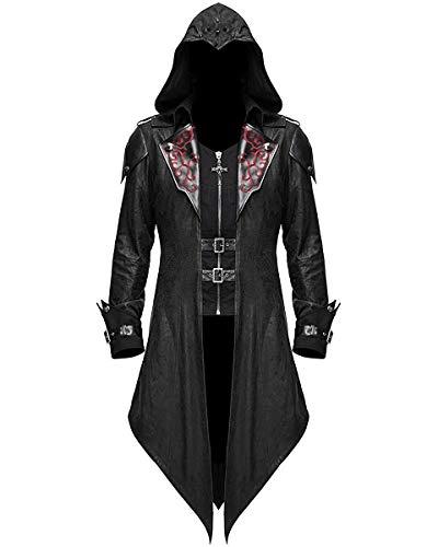 Devil Fashion Gótico para Hombre Chaquete con Capucha Negro Dieselpunk Assassins Creed - Negro, M