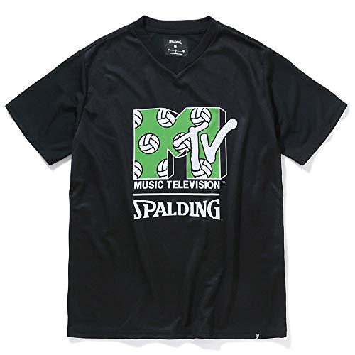 SPALDING(スポルディング) バレーボールTシャツ MTV ボールロゴ SMT210640 ブラック XXLサイズ バレー