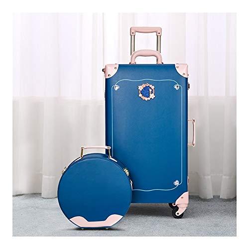 GYMEIJYG Maleta Vintage, Rueda Giratoria De 360 ° Contraseña Almacenamiento De Ropa Viaje Accesorios De Fotografía Monitor Decoración Hogareña 1 Juego De 2 (Color : Blue-A)