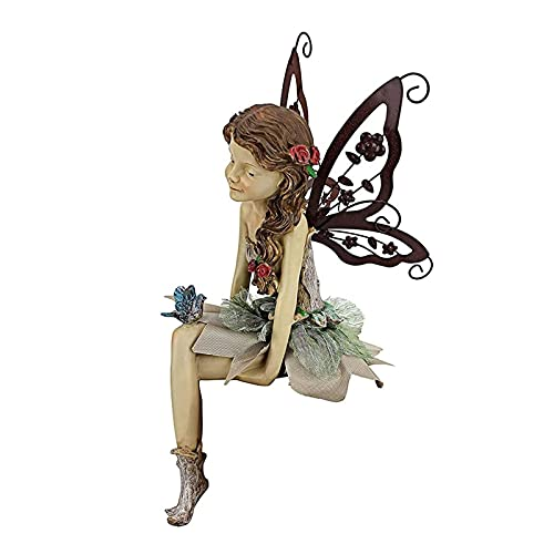 PHLPS Fannie The Fairy Sitting Cute Statue Resin Figurines Cute Sculpture Home Decoration Lawn Yard Art Porch Patio Home Ornaments Outdoor Decorati for Desk Lliving Room