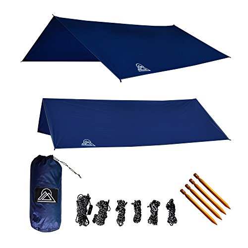 OAV Hammock Tarp Waterproof Rain Fly: 40D Ripstop Real Nylon, Lightweight, Includes Stakes & Guy Lines, Use for Shelter or Sunshade, 10' - Durable, Easy Set Up