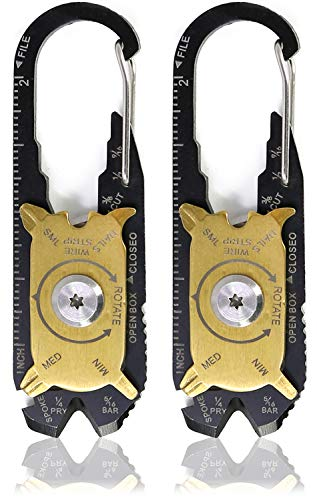 com-four® 2X Multifunktionskarabiner 20in1 aus Edelstahl, Schlüsselanhänger in schwarz und goldfarben (02 Stück - Multifunktionskarabiner)