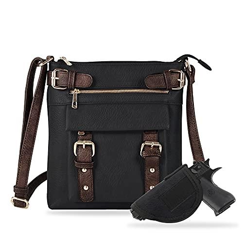 Jessie & James 2 Toned Belt Concealed Carry Crossbody Bag Gunbag Shoulder Purses For Women with Lock and Key | Black