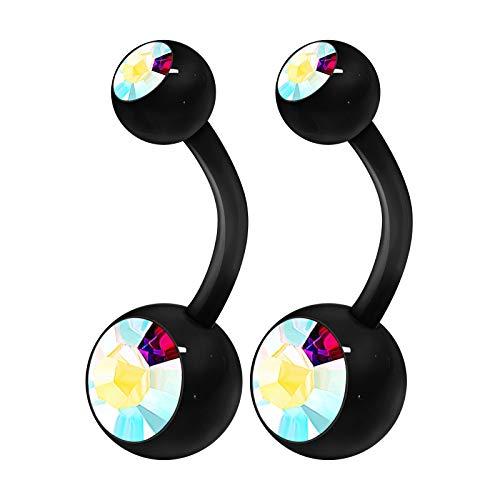 2PCS Flexible Acrylic Body Belly Button Ring 14 Gauge 3/8 10mm Aurora Borealis Crystal Ball Earrings Piercing Jewelry 3587
