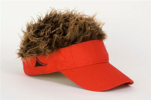 Flair Hair Mens Visor with Brown Wig One Size Fits Most Red, Brown by Flair Hair