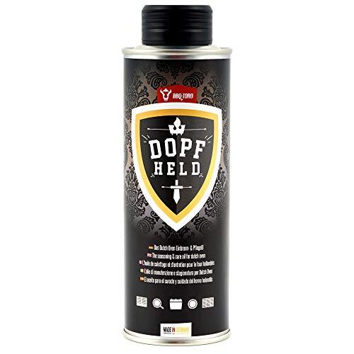 BBQ-Toro DOPFHELD - Das Dutch Oven Einbrenn- & Pflegeöl I 250 ml I Öl für Pflege von Gusseisen Grillzubehör I Einbrennöl auch für Grillrost, Grillplatte, Grillpfanne und mehr