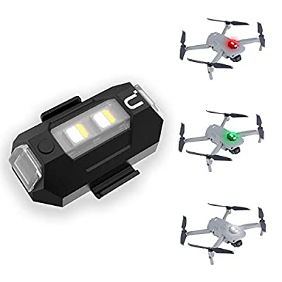DR-02 Strobe Drone Light Compatible with DJI Mavic AIR 2 Pro Inspire 2 Pro etc, 3 Color Adjustable Anti-Collision Light for Drone 3KM Visible, Mini Drone Lamp, 6.5g 110mAh Battery USB-C Charging