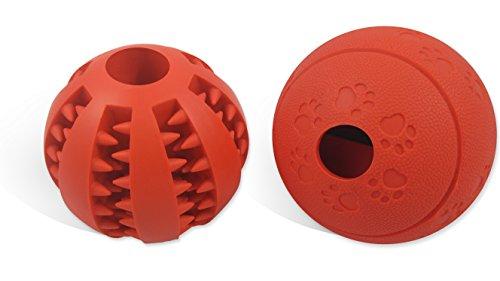 Premium Hundespielzeug Ball 2 STK | Hundeball & Snackball aus Naturkautschuk mit Zahnpflege Funktion | Robust & Langlebig | Hundeball mit Loch für Leckerlis | Kauspielzeug | Für Große & Kleine Hunde