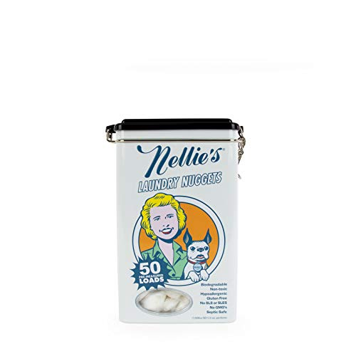 Nellie's Laundry Nuggets, 50 Load Tin- Easily Dissolvable- Biodegradable, Vegan- Leaping Bunny Certified