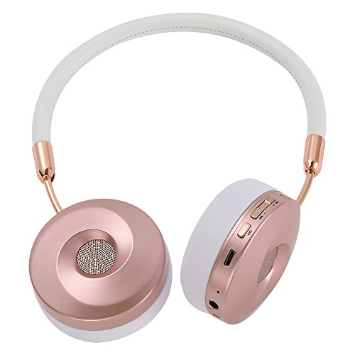 Liboer Wireless Bluetooth Headphones with Mic Foldable On Ear Headset with Carrying Case for iPhone 7 Samsung Cellphones BT89 (White-Rose)