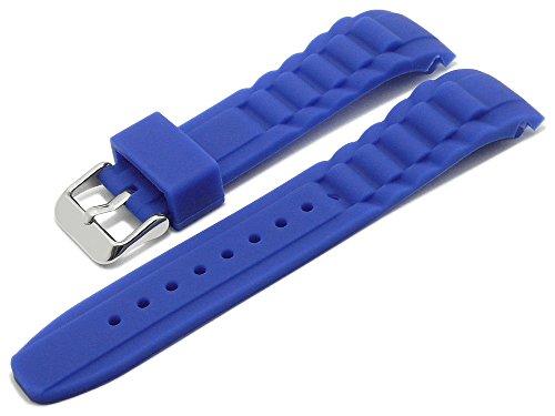 Meyhofer Uhrenarmband Leeds 20mm königsblau Silikon wasserfest matt mit Rundanstoß MyCskkb7005-20-kblau