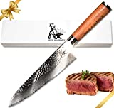 Damascus Chef Knife - Pro Grade 67 Layer 8 Inch VG-10 Japanese Steel Hammer Finish Blade - Full Tang...