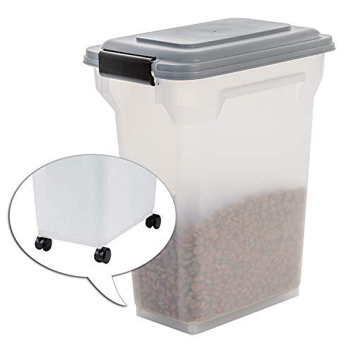 Iris Ohyama, Contenedor de comida para mascotas 20 L para 7,5 kg, tapa abatible, hermética, transparente, ruedas y pala, para comida para perros y gatos - Air Tight Food Container ATS-M - Gris