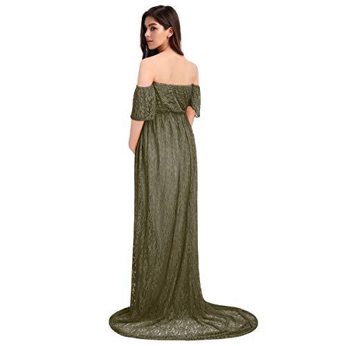 Vestido de embarazo de fotografía elegante, vestido largo de encaje de manga corta para mujer, vestido de boda, fiesta, ceremonia S-XL Vert Armée. L